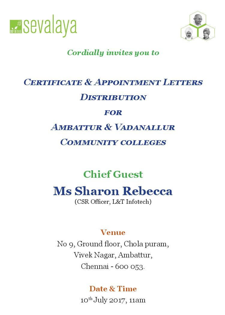 Sevalaya's certificate & appointment letter distribution ...
